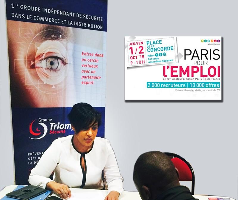 Triomphe Sécurité présent au forum PARIS POUR L'EMPLOI le 2 octobre 2015