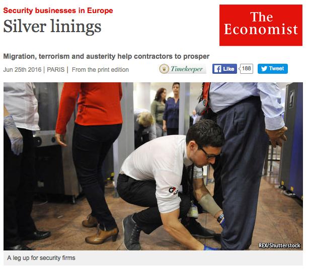 the Economist : nouvelles missions pour la sécurité privée française et européenne à l'heure des flux migratoires et des menaces terroristes